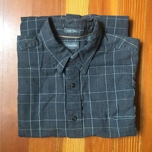 St. John's Bay Jaspe Twill Gray Plaid Shirt L